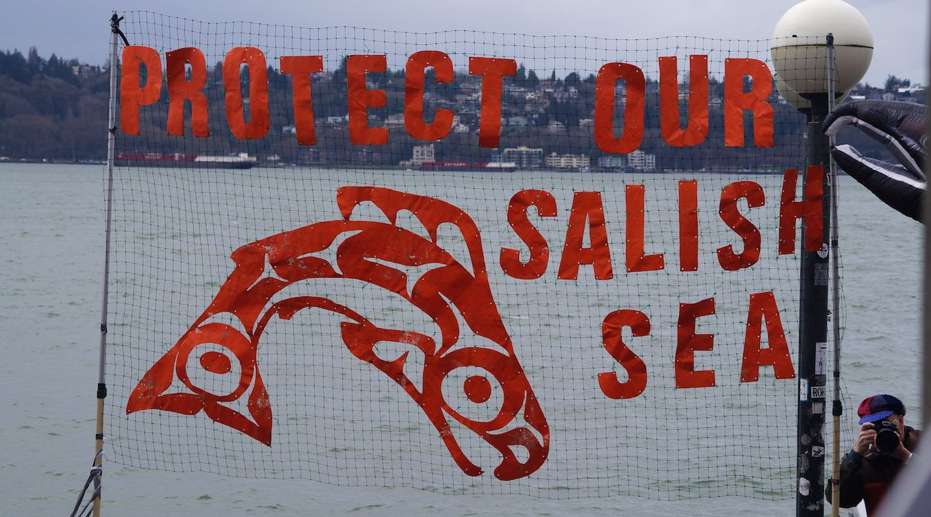 "A banner on the waterfront says ""Protect our Salish Sea"" next to a leaping salmon."