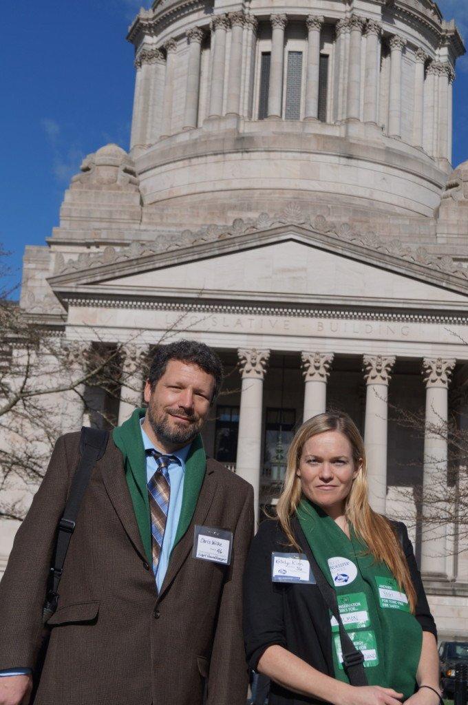 Soundkeeper Chris Wilke and Staff Attorney Katelyn Kinn at the Washington State Legislature in Olympia.