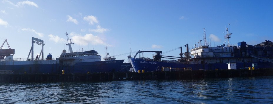 Fishing vessels at the Trident Seafoods facility on the Hylebos Waterway.