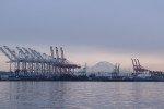 Port of Seattle and Mount Rainier.